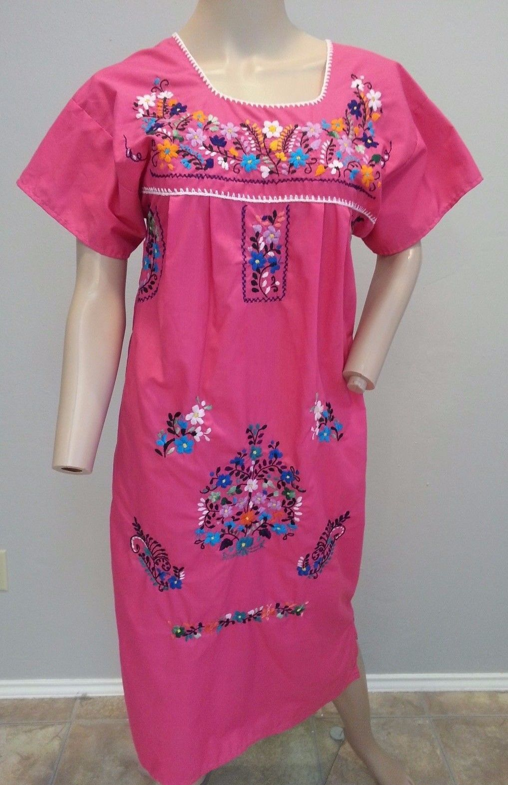 VTG Pink Embroidered Multicolor Floral Mexican Oaxacan MuuMuu Dress