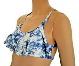 Victoria Secret Pink Blue Ruffle Flounce Razor Back Swim Bathing Suit Bikini Top - $12.99