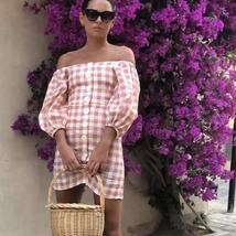 Women's Trendy Pink Checkered Casual Contour Sundress image 3