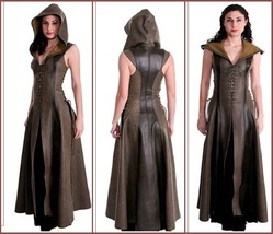 Medieval Waterproof Sleeveless Hooded  Faux PU Leather Woodland Archer C... - $156.95