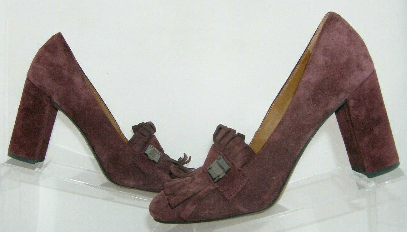 Franco Sarto 'Ainsley' purple suede buckle kiltie slip on block heels 7.5M image 10