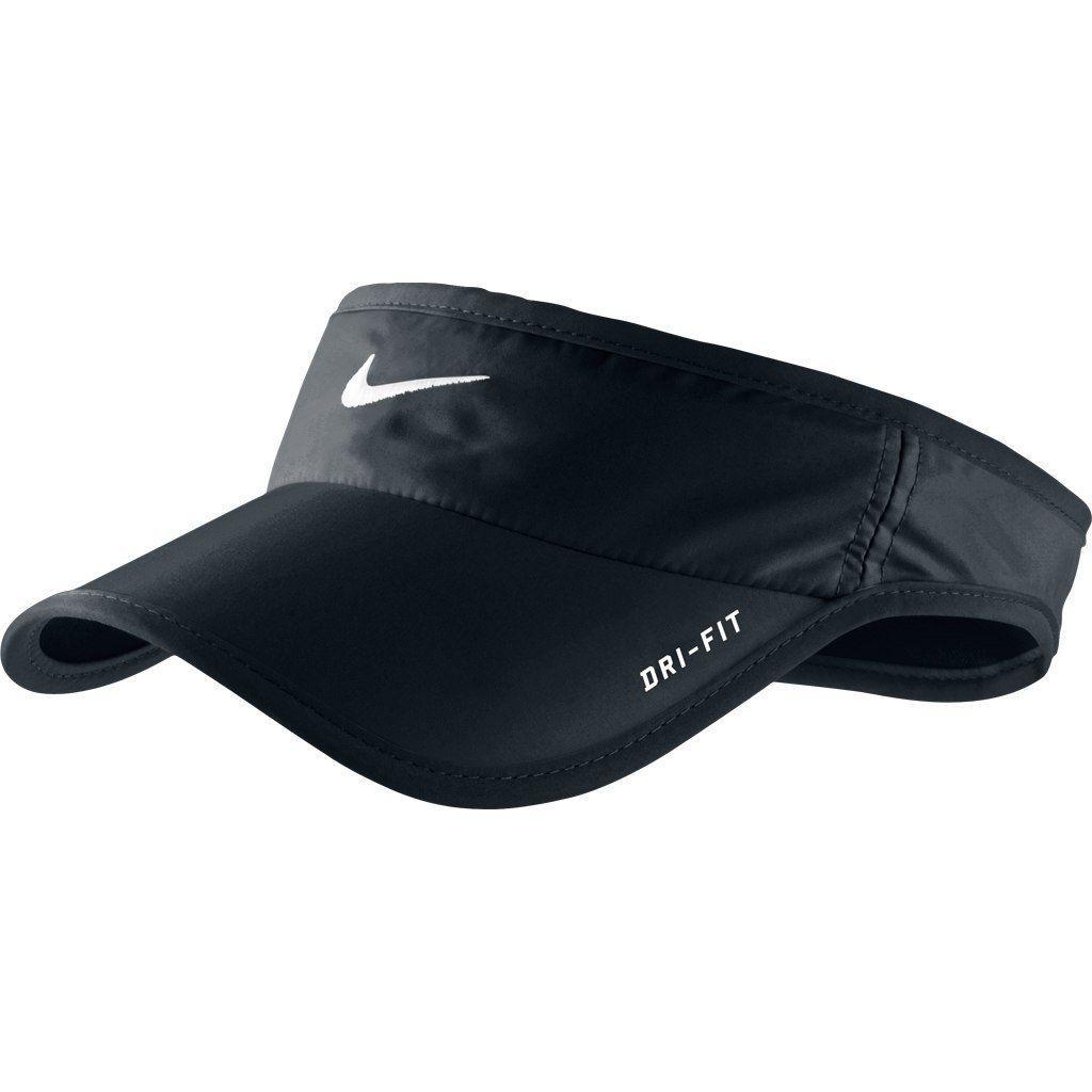 28e764fc66d06 RARE Black NIKE Men-Women Tennis Golf Visor DRI-FIT Runner FEATHERLIGHT