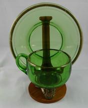 """Antique """"CANTON CENTENNIAL 1909""""  GREEN PATTERN Glass Souvenir SET/ STAN... - $9.89"""