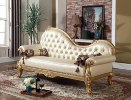 Meridian 676 Bennito Living Room Chaise in Rich Gold Hand Carved Traditional
