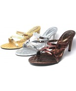 Party Shoes High Heels Sandals Mirrored Strappy Silver Gold Bronze Size ... - $19.31