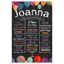 Balloons Birthday Chalkboard Poster Photo Prop - $30.20+