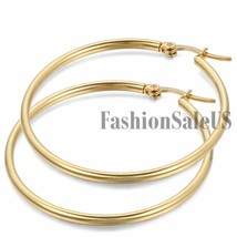 """Women""""s Fashion Gold Tone Stainless Steel Big Round Circle Dangle Hoop Earrings - $39.00"""