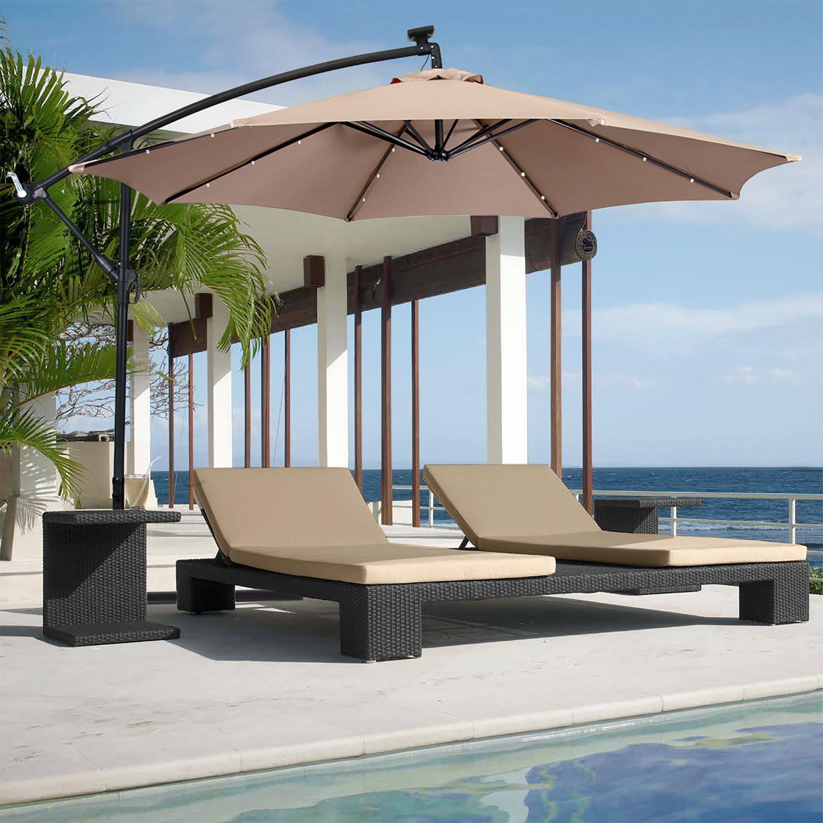 10ft Solar LED Hanging Patio/Deck Umbrella w/ Easy Tilt Adjustment
