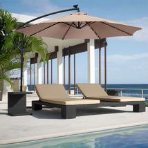 10ft Solar LED Hanging Patio/Deck Umbrella w/ Easy Tilt Adjustment image 1