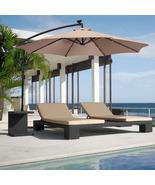 10ft Solar LED Hanging Patio/Deck Umbrella w/ Easy Tilt Adjustment - $140.00