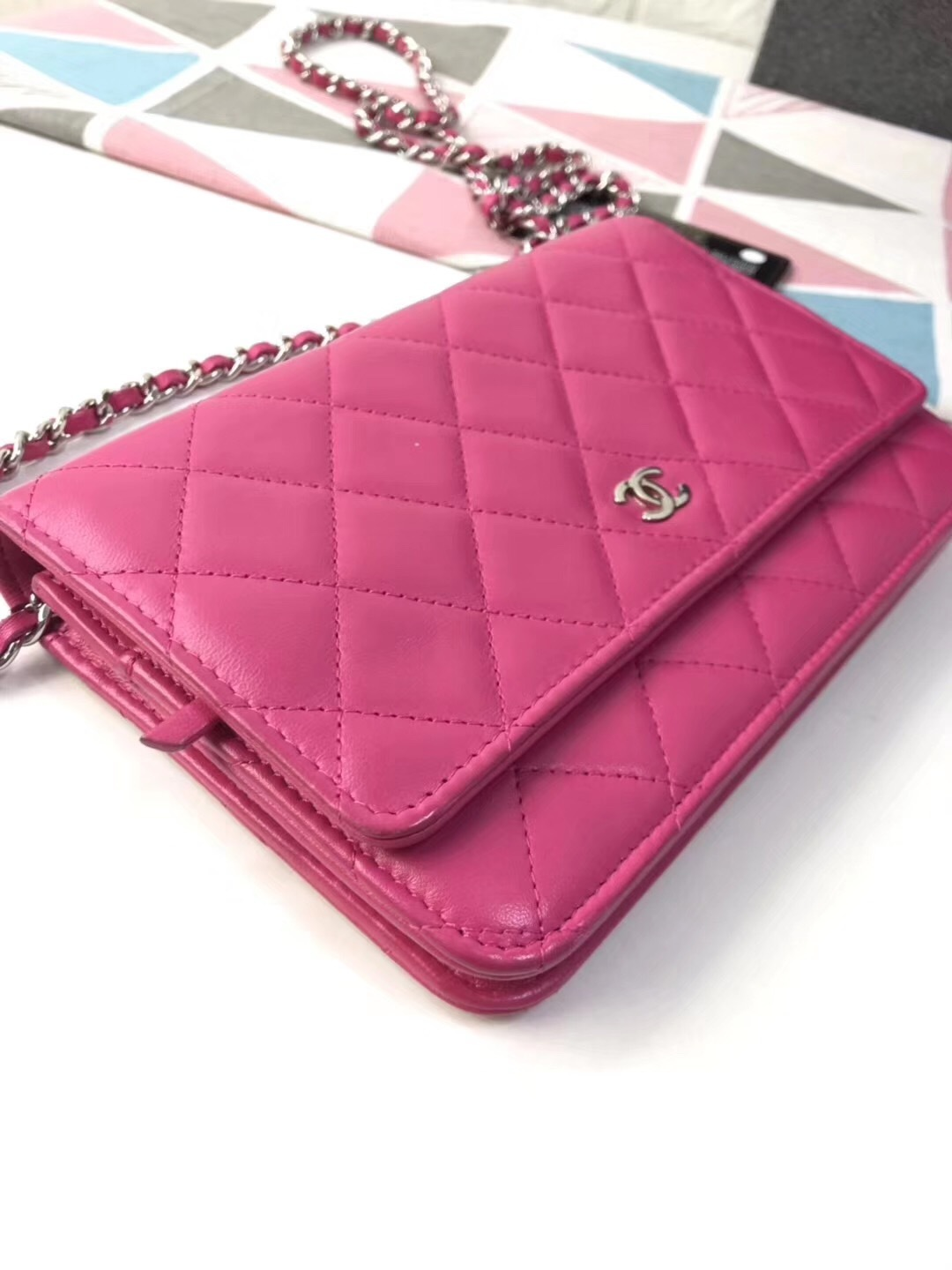 100% AUTH CHANEL WOC Quilted Lambskin PINK Wallet on Chain Flap Bag SHW image 3