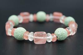 Genuine watermelon tourmaline bracelet - handmade lava stone bracelet pi... - $13.30