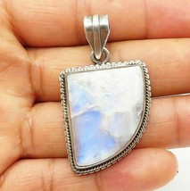 925 Sterling Silver - Vintage Large Moonstone Fluted Trim Drop Pendant -... - $46.29