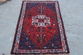 Vintage Persian Shirazi rug / hand knotted tribal rug 100% wool /orienta... - $139.70