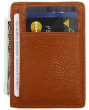 DEEZOMO RFID Blocking Genuine Leather Credit Card Holder Front Pocket Wallet Wit - $17.17
