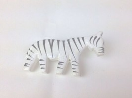 Vintage Wood Zebra Made In Philippines Animal Black White Brooch Pin - $5.89