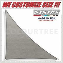 ColourTree 16' x 16' x 22.6' Right Triangle Grey Sun Shade Sail Canopy Awning Su image 12