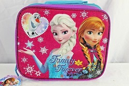Disney Frozen Insulated Lunchbox Pink/Purple Elsa/Anna/Olaf Family Forever - $17.99