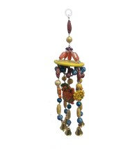 Indian Wooden Wind chimes Lord Ganesha bell design natural wood home déc... - $15.84