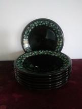 SET OF 7 DUNOON CAROLINE BESSEY HOLLY SALAD PLATES GREEN HOLLY BERRIES B... - $105.64
