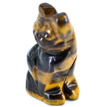 Tiger's Eye Gemstone Tiny Miniature Kitty Cat Figurine Hand Carved in China image 3