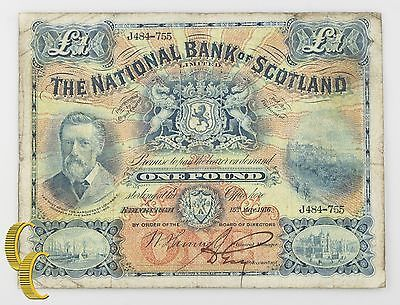 1916 Scotland £1 LIBRA BILLETE (Fino,F) National BANCO DE ESCOCIA LIMITED P 248a