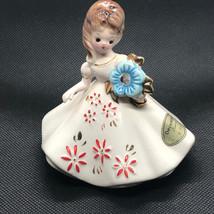 Josef Originals Figurine 1960s Girl Of Month Calendar Japan December Zircon Blue - $34.65