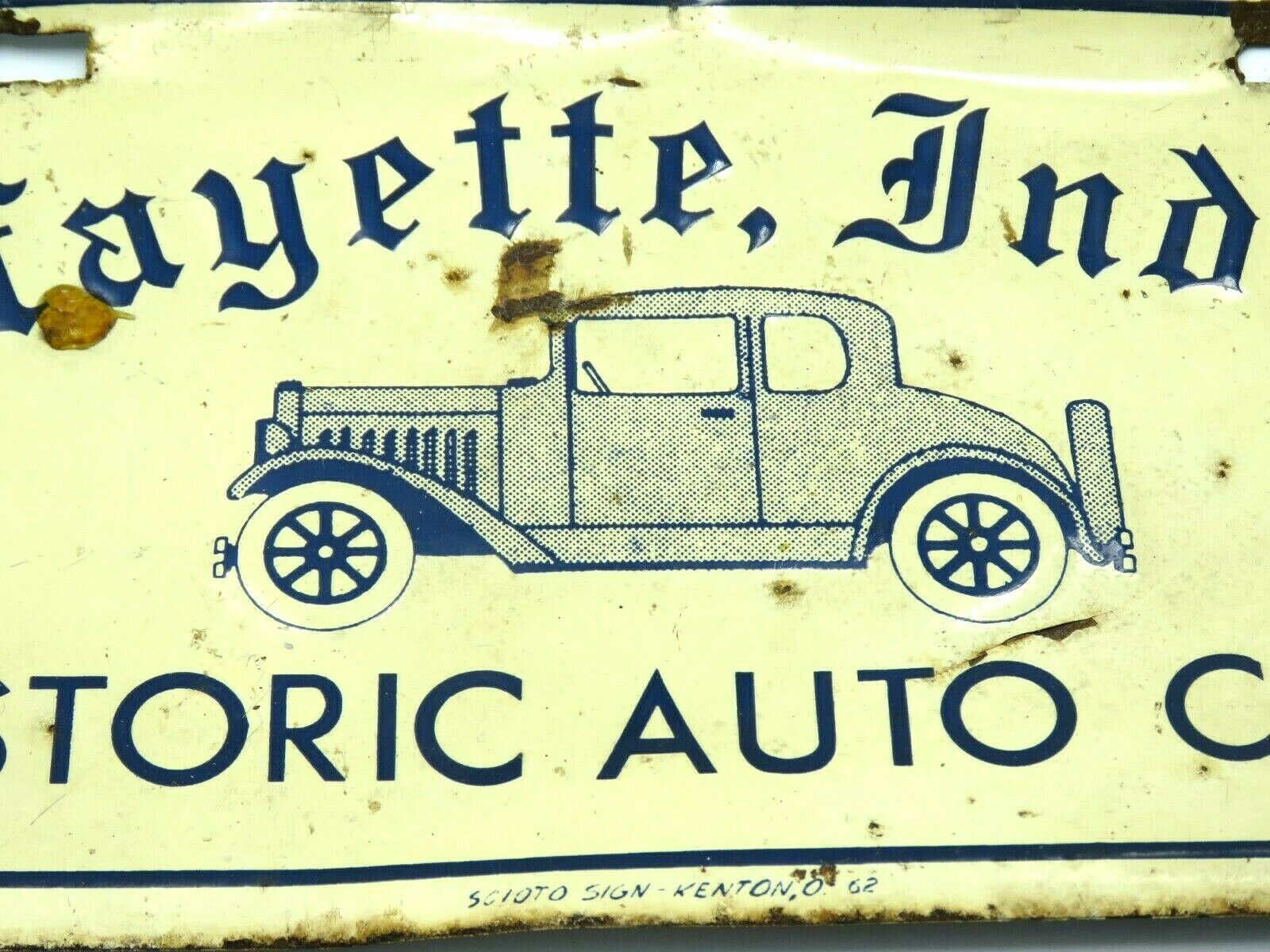 Vintage Historic Auto Club Lafayette Indiana Metal License Plate image 2
