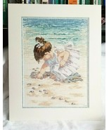 Adorable FINISHED Little Girl On The Beach Cross Stitch 1997 Matted Need... - $49.00