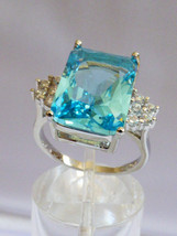 Sterling Silver .925 Emerald cut Blue Topaz CZ & clear Ring size 6.75 - £46.16 GBP