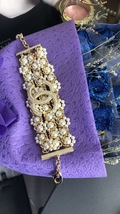 NEW Authentic CHANEL 2019 Multi Strand Crystal CC Gold Chain Pearl Bracelet  image 4