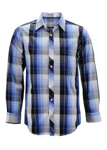 Men's Cotton Casual Long Sleeve Classic Collared Plaid Button Up Dress Shirt image 14