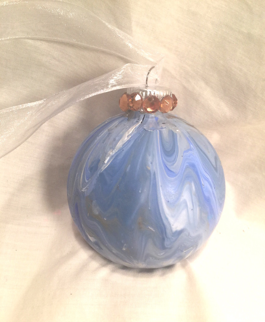 Blue Gold  Gold Marble  Painted Glass Christmas Ornament Gold Rhinestones Ribbon