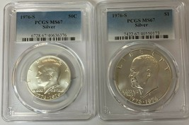 1976-S Silver Kennedy 50c and Eisenhower $1 PCGS MS67  (2 Coin Set) - $53.50