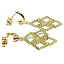18K YELLOW GOLD PENDANT EARRINGS, OPENWORK FLAT RHOMBUS, BUTTERFLY CLOSURE image 3
