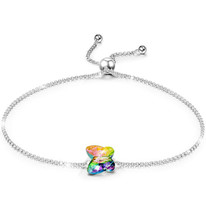 Crystal Heart Charm Bracelet 18K White Gold Plated Made with Swarovski E... - $8.81