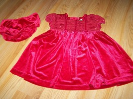 Size 18 Months The Children's Place Red Velour Holiday Dress & Bloomers EUC - $18.00