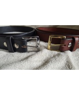 """Handmade Amish Leather Belt in Black Choice of Square Buckle 1 1/2"""" width - $39.00"""