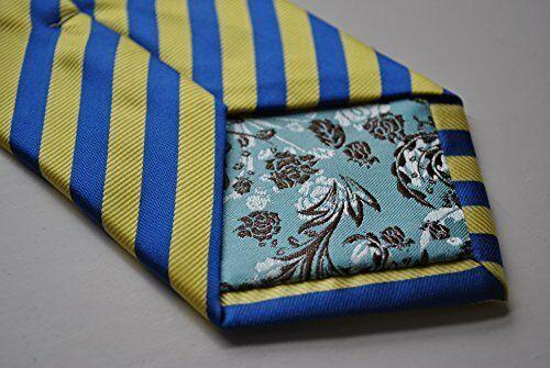Frederick Thomas Designer Mens Tie - Royal Blue & Pale Yellow Striped Necktie