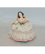 Frankenthal Germany Seated Lady on Chair with Lace Dress - $74.25