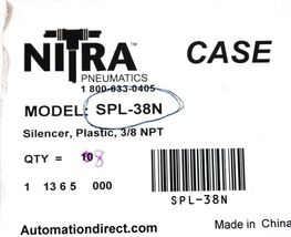 "BOX OF 8 NEW NITRA SPL-38N PLASTIC SILENCERS 3/8"" NPT SPL38N image 4"