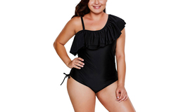 Women's Stylish Ruffle Off the Shoulder Plus Size One-Piece Swimwear - $22.99