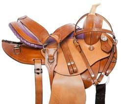 PURPLE GAITED WESTERN PLEASURE TRAIL BARREL HORSE LEATHER SADDLE TACK 14... - $331.77