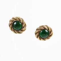 VINTAGE Chanel Season 25 Green & Gold Tone Gripoix Round Clip On Earrings - $260.00