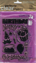 BIRTHDAY Stamp Set Acrylic Clear Cake Candles Balloon Hat Stampendous New - $12.86