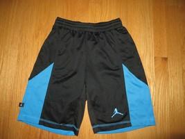 6ac3c898 Nike Black Blue Air Jordan Dri Fit Basketball Shorts Youth Med M 10-12 Yr