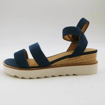 Franco Sarto Womens Connolly Ankle Strap Sandals Blue Leather Platform B... - $27.71