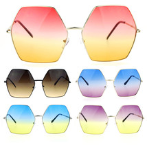 SA106 Gradient Color Lens Oversized Octagon Retro Hippie Groove Sunglasses - £9.29 GBP