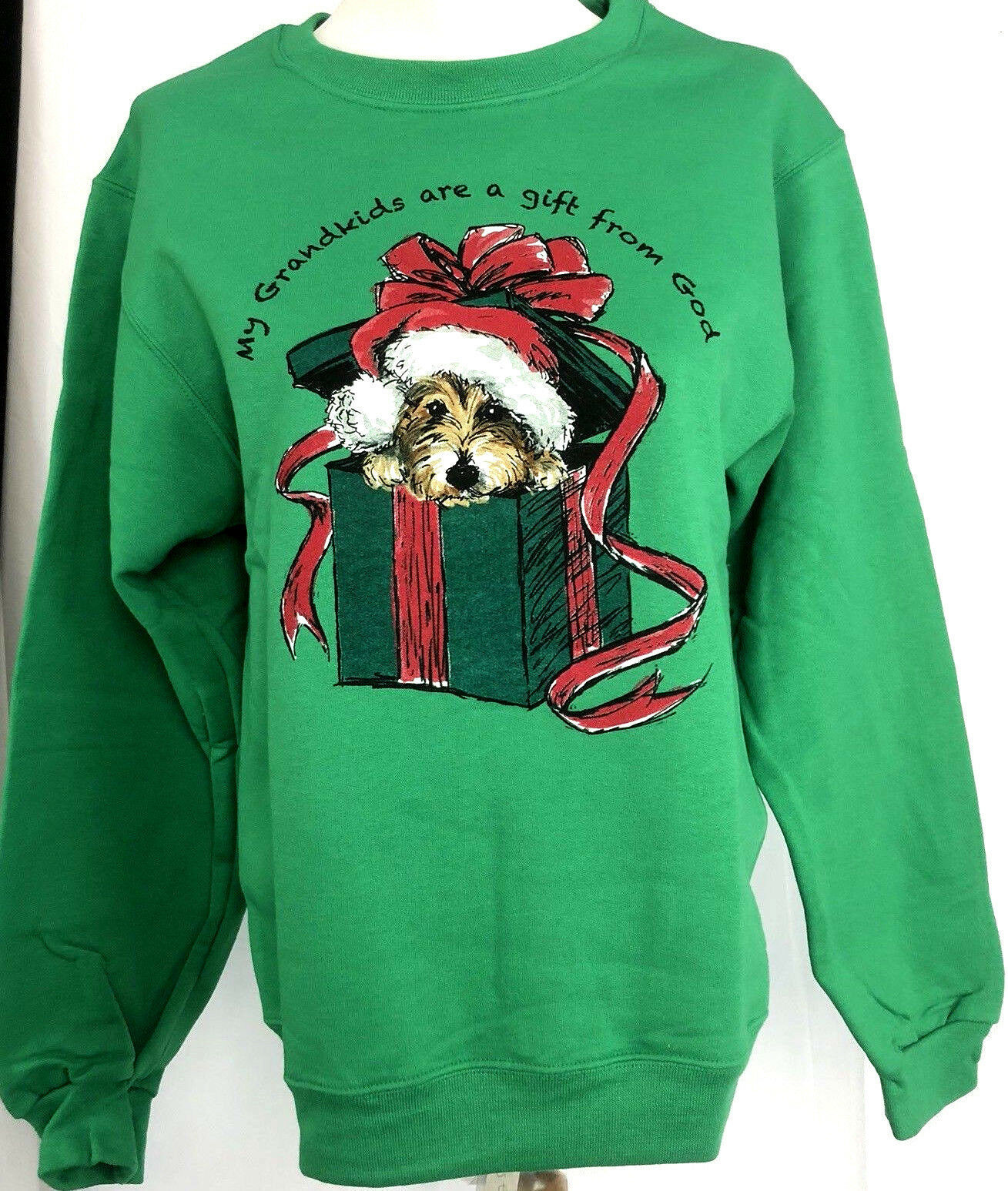 Primary image for Grandkids Christmas Sweatshirt Small Unisex Cotton Blend Gift From God Green