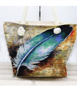 Feather Patterned Woman Tote Bag, Handmade Large Shoulder Bag, Beach Bag - $28.90